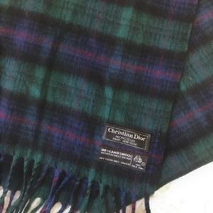 Christian Dior vintage lambswool plaid scarf